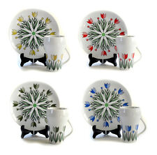4 Sets Tulip Sandwich Plates and Mugs 8 Pc Set - Spring Easter Table Settings