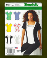 Easy Pullover Tops Sewing Pattern~5 Variations! (Sizes 6-14) Simplicity 1316