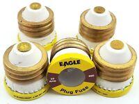 Lot of 5 Eagle 125 Volt 25 Amp Edison Base Plug Fuses Vintage TESTED