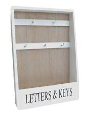 White Rustic Chic Style Letters & Keys Wooden Storage Hooks Rack Tidy Organiser