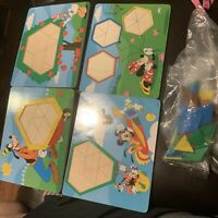MICKEY MOUSE PATTERN TILES Puzzle 4 Lot Melissa & Doug Disney Shape Toy 2-sided
