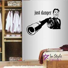 Vinyl Decal Just Danger Secret Agent Spy Man Pistol with Silencer Sticker 443