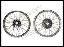 "Stainless Steel 19"" Wheel Rim Pair With Spokes Half Width Hub BSA Norton Enfield"