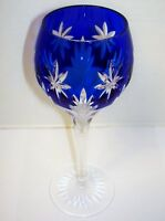 2  Crystal Cobalt Blue Star Of Midnight Wine Hock/Goblets Wedding Toast
