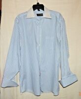 Donald J Trump Signature Collection Mens Shirt French Cuffs White w Blue Stripe