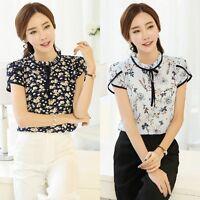 Summer Chiffon Blouse Women Short Sleeve Floral Printed Blouse Tops T-shirts