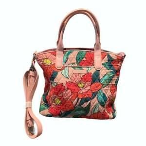 "NWT Vera Bradley Pink Vintage Floral Casual Satchel Tote Shoulder Bag 14"" x 11"""