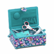 SEWING BASKET multi use craft box w Dressmaking Scissors Thread Pins Needles etc