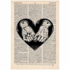 Heart Pinky Swear Dictionary Word Art Print OOAK, Quirky, Alternative