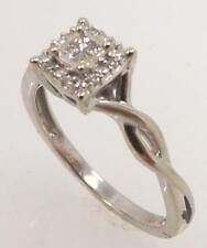 10K WHITE GOLD 1/5 CTTW GENUINE DIAMOND PRINCESS CLUSTER SOLITAIRE RING SIZE 6