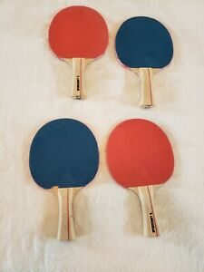 Lot of 4 Ping Pong Table Tennis Game Paddles Sportcraft Red and Blue