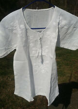 Maya Mexican Blouse Top Shirt Embroidered Chiapas White XSmall Small 16x22 C