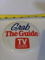 Vintage Grab the Guide TV GUIDE pin button pinback *EE77