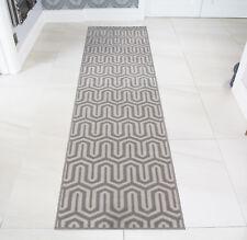 Grey Modern Long Hallway Runner Rugs Thin Narrow Silver Geometric Hall Runners