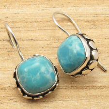 ! 925 Silver Plated Art Gift Cushion Simulated Larimar Jewel Earrings 1""