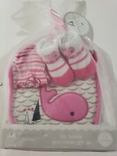 Petite l'amour-Baby, Bootie, And Mitten Gift Set-Pink-NWT-Whale