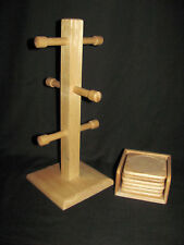 Wooden 6 Mug Tree and 6 Coasters with Rack