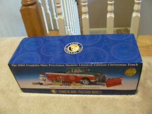FRANKLIN MINT 1:24 2003 CHRISTMAS LIMITED EDITION 1955 PLOW TRUCK NEW IN BOX