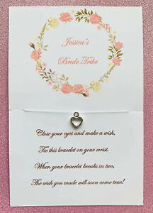 Wish Heart Bracelet Hen Do Party Favour Personalised Bridesmaids Gift Bridal