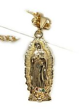 "Virgin Mary Gold Plated Pendant Necklace 26"" Fígaro Chain"