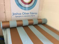 10m Teal And Bronze Stripe Interiors Fabric, Free P+P