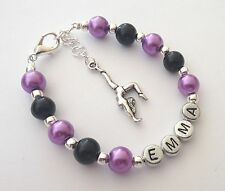 Girls personalised gymnastic charm bracelet gift for gymnast - any name
