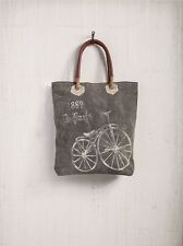 Mona B Paris Streeter Recycled Canvas Tote Bag Stenciled Bicycle & Leather Trim
