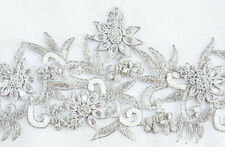 """Hand Beaded & Embroidered Silver Trim for Bridal Wedding or Prom 4½"""" Wide 1 Yard"""