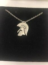 """Trojan Helmet PP- English Pewter on a Silver Platinum Plated Necklace 18"""""""
