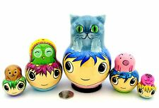 Genuine Russian nesting dolls 5 MANGA PET HEADS Cat Owl Pig Unique Babushka GIFT