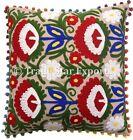 "Uzbek Suzani Pillow Cases 16X16"" Embroidered Cushion Cover Vintage Sofa Pillows"
