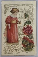 Antique Happy Days Postcard Floral Last Words Goodbye Letter to Daughter Girl