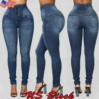 Women High Waisted Denim Jeans Stretchy Skinny Pencil Trousers Slim Fit Pants