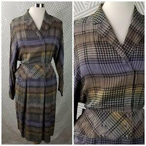 Vintage Francesca 100% Silk Shirt Dress size 12 Plaid Career Secretary Midi