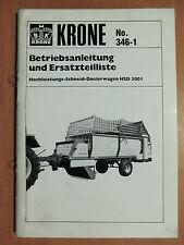 Betriebsanleitung Ersatzteilliste Krone HSD 3001 Hochleist Schneid Dosierwagen