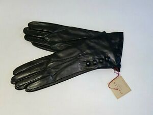 Genuine Dents leather gloves - Silk lined with 4 Button detail - Black