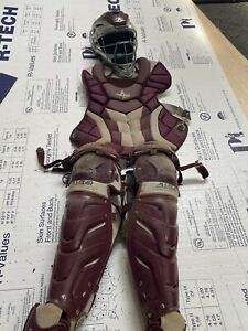 All-Star System7 Axis NOCSAE Adult Baseball Catcher's Gear Set - Maroon