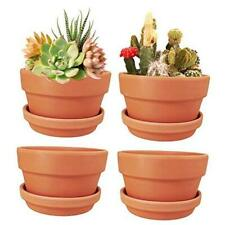 4 Pack 6 Inch Terracotta Shallow Succulent Pot - Terra Cotta Clay Pots with