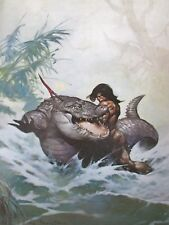 Vintage Frank Frazetta Art MONSTER OUT OF TIME 1972 Full Color Plate Croc Gator