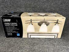"New Feit Three Light Brushed Stainless Finish White Glass Vanity Fixture 23.5"" W"