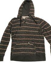 Mens Billabong Striped Hoodie Medium Hooded Sweatshirt. Dark Gray Vintage