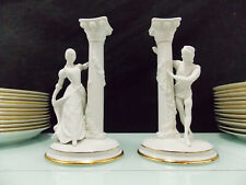 THE FRANKLIN MINT-2 BOUGEOIRS EN BISCUIT ROMEO AND JULIET-CANDLESTICKS
