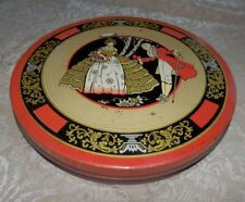 Vintage RED Cookie Tin Sewing Box Colonial Man & Woman