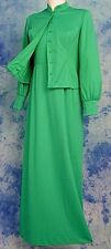 ReTrO-MOD 70s VtG GREEN BoHo MAXi DRESS BiSHOP SLV PLEATED BUSTLE JACKET SET S/M