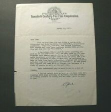*GENE FOWLER 1937 TYPED LETTER SIGNED 20TH CENTURY FOX – JACK NORWORTH*
