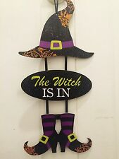 "Halloween Sign ""THE WITCH IS IN"" Glitter Trick-or-Treat New"