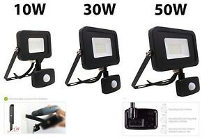 LED Floodlight Sensor PIR 10W 30W 50W Security Light Slimline Waterproof IP65