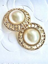 2 Gold Tone Round Faux Pearl Center Chanel Stamped Buttons , 23 mm