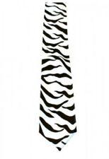Unisex Novelty Fancy Dress Black & White Zebra Animal Print Skinny Tie Brand New