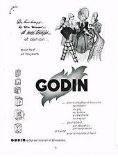 PUBLICITE ADVERTISING 0314   1953   GODIN    cuisinière  poele  chauffage